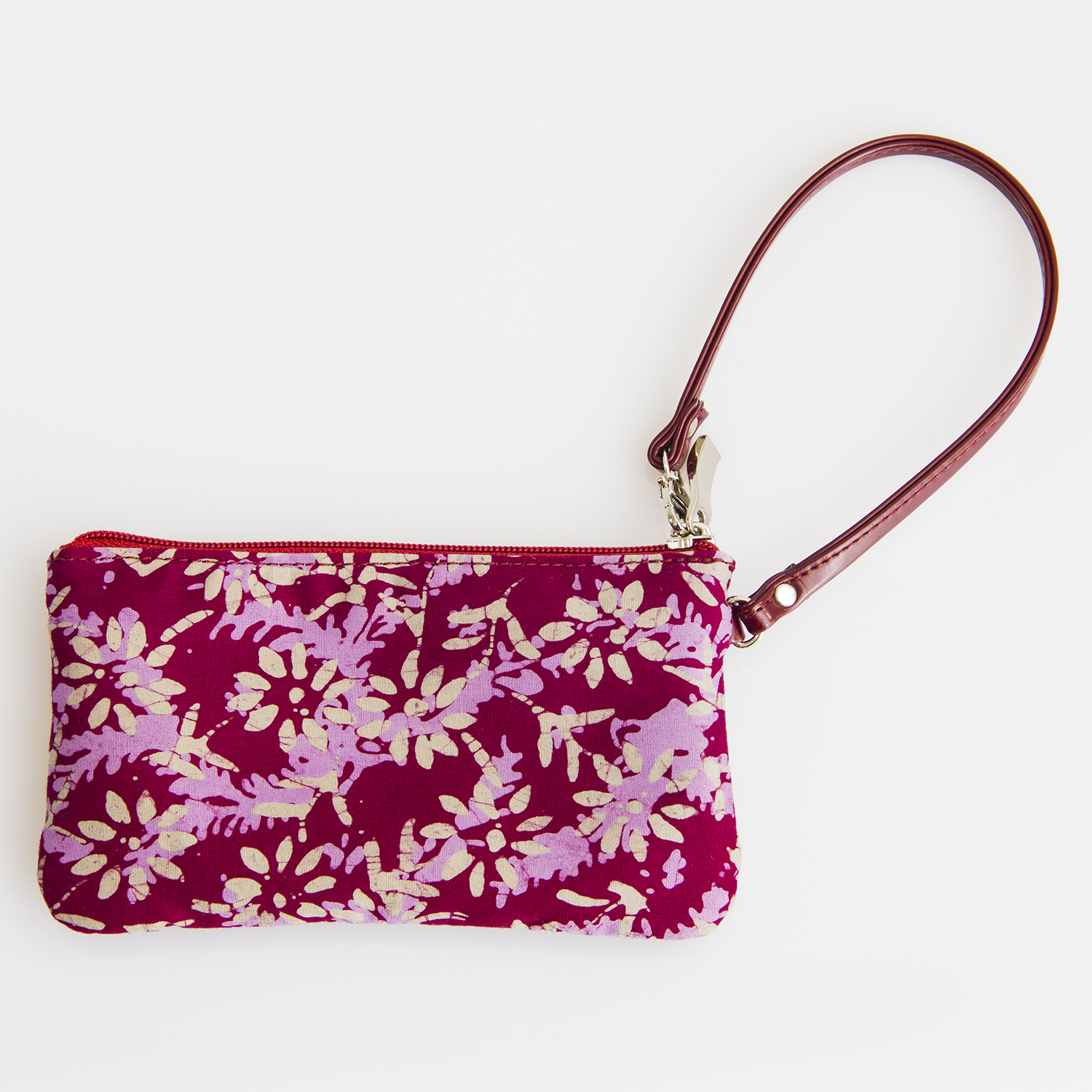 Maroon Small Pouch with Batik Design